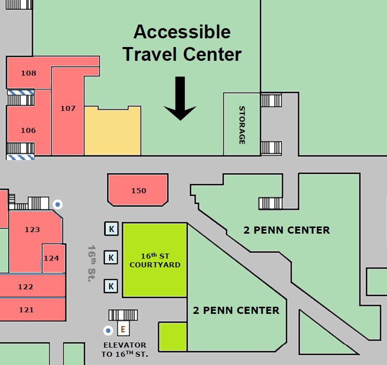 SEPTA's Accessible Travel Center is located inside of Suburban Station on the Concourse.
