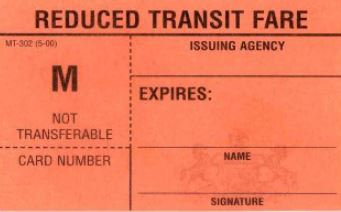Example of Reduced Transit Fare card.